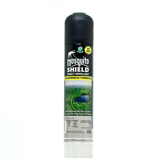 [MS007] MOSQUITO SHIELD - WILDERNESS FORMULA - 220G AEROSOL (30% DEET)
